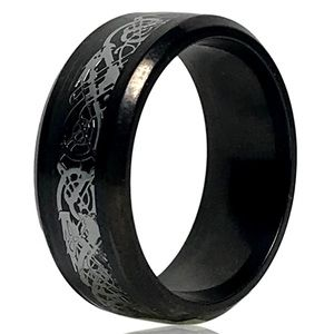 Black and Silver Celtic Tribal Dragon Ring